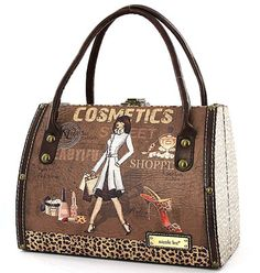 Nicole Lee Handbags Cosmotic Fashion Purse Vintage Style Tote Bag