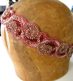 Bohemian Beaded Headband - Pink, Gold, Women and Teens by bethanylorelle on Etsy https://www.etsy.com/listing/82950045/bohemian-beaded-headband-pink-gold-women