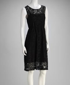 Take a look at this Black Rose Lace Sleeveless Dress by Bacci on #zulily today!