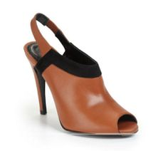 """Rebecca Minkoff Tempt Slingback Ankle Booties Size 10 Retail $275.00 Sale $169.00. Rich Camel ( cognac) colored leather trimmed with velvety black suede around the upper vamp brings a luxe look to these chic Rebecca Minkoff boots. A black leather interior with a padded insole adds style and comfort to these edgy 4-1/2"""" covered stiletto heels.A leather sole finishes these sleek leather boots. Great 4 season boot. Black Suede, Black Leather, Fashion Boots, Ankle Booties, Rebecca Minkoff, Leather Boots, Peep Toe, Booty, Leather Interior"""
