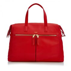 Audley Slim Leather Tote Red