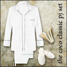 The CocoClassic Pj set..in crisp white poplin - beautifully tailored our salute to the Great Coco Chanel.. www.foundling.com.au