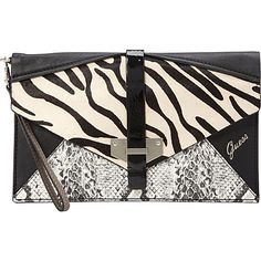 GUESS Quinn Envelope Clutch Black Multi - GUESS Manmade Handbags