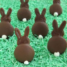 Chocolate Bunny Silhouettes made using vanilla wafer cookies and candy melts.