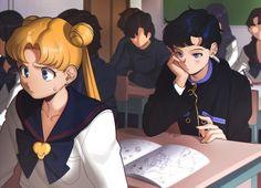 art by: Aconitea, Bishoujo Senshi Sailor Moon, Tsukino Usagi, Seiya Kou