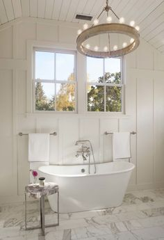 Bath room floor modern tubs 56 Ideas for 2019 Dining Room Light Fixtures, Bathroom Light Fixtures, Living Room Lighting, Bathroom Lighting, Farmhouse Table For Sale, Farmhouse Faucet, Modern Shelving, Plank Walls, Luxury Kitchens