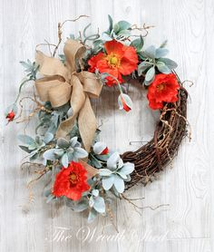 Colorful Poppy Wreath new addition to my #etsy shop: Spring Wreath, Spring Wreath for Front Door, Wreaths, Farmhouse Wreath, Spring Poppy Wreath, Front Porch Wreath, Etsy Wreath, Orange Poppies http://etsy.me/2DMwdYr #housewares #homedecor #housewarming #mothersday #