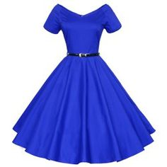 Vintage Solid Color V-Neck High Waist Ball Flare Dress For Women