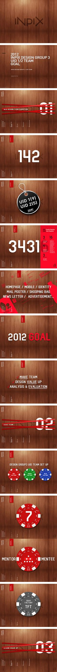 Presentation with wood grain, one color and consistent white type. There is some complex layering, but the overall style is amazing. Maybe the best designed deck I've seen. INPIX The Goal 2012! on Behance #keynote #ppt #presentation