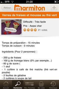 "Screen ""Recherche"" > screen ""Recette"", application Marmiton"