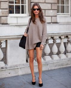 over size sweater + shorts. #streetstyle #fashion