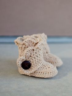Crochet Baby Boots, no pattern