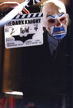 """Heath Ledger as The Joker during the filming of """"The Dark Knight""""."""