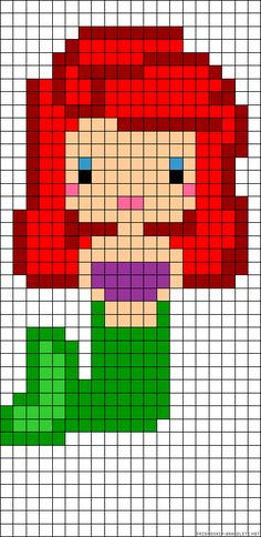 Ariel Disney  perler bead pattern..  this would be good to crochet each square can be done by granny squares with each individual color.
