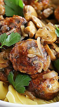 Chicken Marsala Meatballs (teriyaki steak bites) Teriyaki Steak, Steak Bites, Chicken Marsala, Camping Gifts, Popsugar, Chicken Wings, Road Trip, Hot, Road Trips