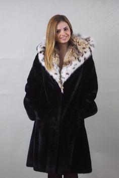 Luxury gift/Mink fur coat and lynx hood/Full Skin/SAGA MEXA | eBay