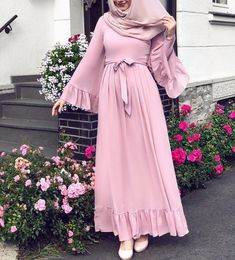 2019 hijab combinations pink long frilly flared dress cream heels shoes - Hijab combinations pink long ruffle flared skirt dress cream heels shoes the - Abaya Fashion, Muslim Fashion, Modest Fashion, Fashion Dresses, Hijab Mode, Mode Abaya, Muslim Girls, Muslim Women, Flare Skirt