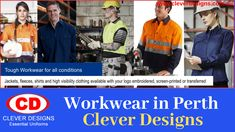 If you are looking to order Workwear in Perth ? Clever Design, are industry leaders in the manufacturing of Professional Workplace workwear at very nominal price that suites your pocket. We make it easy, comfortable, Affordable and easy to wash. Address:- Showroom 1, 352 South Street, O'Connor (Near REPCO), WA 6163, Australia Phone:- (08) 9314 2301 Email:- sales@cleverdesigns.com.au Hi Vis Workwear, Corporate Uniforms, Clever Design, Perth, Workplace, Showroom, Work Wear, Australia, Pocket