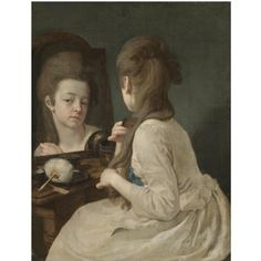 An interior with a young lady at her toilet, combing her hair before a mirror by Johann Anton de Peters