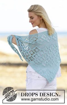 "Water Pearl - Crochet DROPS shawl with lace pattern in ""Alpaca"". - Free pattern by DROPS Design Shawl Patterns, Knitting Patterns Free, Free Knitting, Free Pattern, Crochet Patterns, Gilet Crochet, Crochet Lace, Free Crochet, Drops Design"