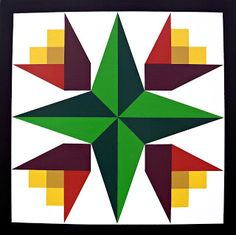 Morgan County Barn Quilts in Colorado: 'Guiding Star/ 4 Tulips' - 19645 Rd. Q - Miller's Landscaping Materials And Feed Inc. Barn Quilt Designs, Barn Quilt Patterns, Quilting Designs, Cute Quilts, Scrappy Quilts, Blackwork, Zentangle, Painted Barn Quilts, Barn Signs