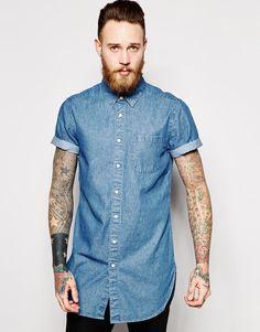 ASOS Super Longline Denim Shirt In Short Sleeve With Mid Wash