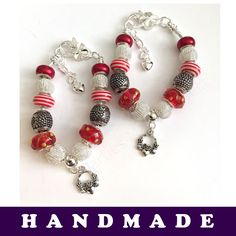 Red and Silver European Style Charm Bracelet With Tibetan Silver Claddagh Charm