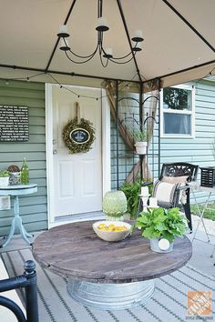 Go for backyard appeal with a freshly painted patio door and then hang an all season wreath.