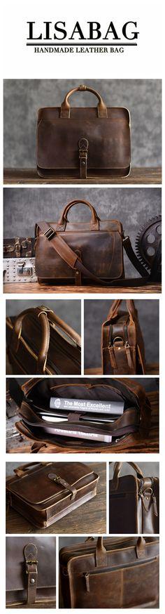 Handmade Men s Leather Briefcase Messenger Laptop Bag Men s Business Handbag  6020 Backpack Purse 0fbf99d1a4db0