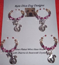 Cat Wine Glass Charms Hoops  Silver plated by NylaDivaDogDesigns, $32.00