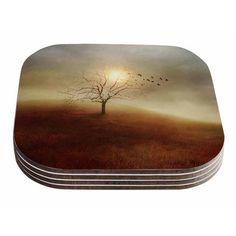 East Urban Home Lone Tree Love I by Viviana Gonzalez Coaster