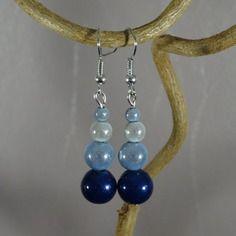 Boucles d'oreilles - perles magiques miracles - bleu ciel - bleu marine - blanc