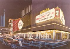 """An artist's rendering of the exterior corner of the Sahara Hotel and Casino in Las Vegas, circa 1970s.  Part of UNLV Libraries """"Dreaming the Skyline"""" digital collection."""