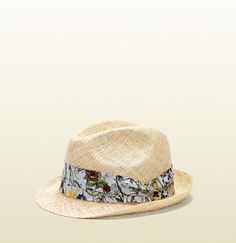 Gucci natural straw fedora hat