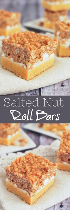 Salted Nut Roll Bars - marshmallows, peanut butter, peanuts, and Rice Krispies! It starts with a box of cake mix so it's a quick and easy dessert! Cake Mix Desserts, Easy Desserts, Delicious Desserts, Baking Desserts, Awesome Desserts, Yummy Food, Edamame, Best Dessert Recipes, Sweet Recipes
