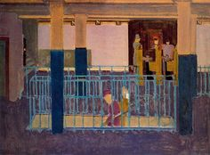 """Rothko's street scenes and subway pictures of the 1930s have been compared to examples of Ashcan School and Depression-era realist painting, but this resemblance is likely based on the perception of a shared urban motif. Rather than providing a """"realistic"""" portrayal of the city life, Rothko seems far more interested in conveying the perceptual experience of architectural space, using abstract compositional arrangements to explore the relationship between the painting..."""