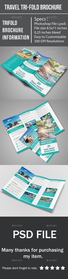 Travel Tri-Fold Brochure Template #design Download: http://graphicriver.net/item/travel-trifold-brochure/10334389?ref=ksioks