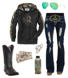 """I luh youuuu"" by johndeerebabe on Polyvore featuring Laredo, Ray-Ban, John Deere and Bling Jewelry"