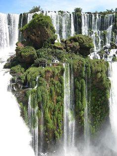 Waterfall Island. Alto Parana, Paraguay