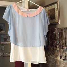 Size L-XL Sheer Pastel Top Soft blue sheer fabric drapes over soft white fabric.  flowing feminine with soft pink collar.  NWOT. Tops Blouses