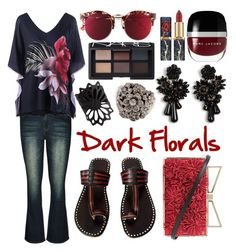 """""""Darkness Florals at Night"""" by curekitty ❤ liked on Polyvore featuring Bonnie Clyde, City Chic, Ann Taylor, Sara Battaglia, Marc Jacobs, NARS Cosmetics, NOVICA, darkflorals and plus size clothing"""