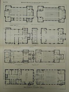 Billerica Town Hall in Billerica MA, 1894. Chapman & Frazer. Original