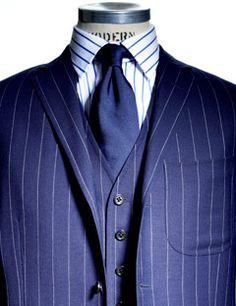 Blue pinstripe with vest