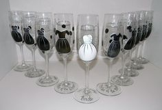 Cute Idea -   White Bridal Gown and Black Bridesmaid Dresses Hand Painted on Set of 10 Champagne Glasses - Great for Wedding Party. $120.00, via Etsy.