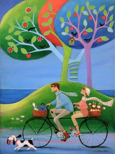 "Iwona Lifsches: ""Frederik's Holidays (3)"". Painting from serie ""Frederik's Daily Issues"" Acrylic on canvas, 30x40 cm."