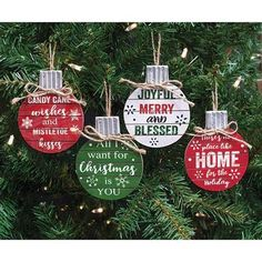 Wooden Christmas Phrase Ball Ornament  (4 Count Assortment)