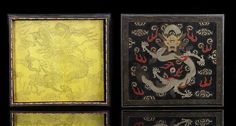 A fine lacquered dragon box and cover, inside with painted yellow silk dragon, China, 18th ct. photo Nagel