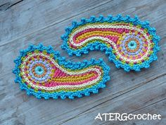 Paisley crochet application set by ATERGcrochet, via Etsy.