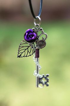 Purple Rose Key Necklace by KeypersCove on Etsy | Silver key, fantasy goth, jewelry | pendant