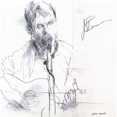 Justin Barnes acoustic set at the Empire 'Society Sessions' in Belfast.A5 Moleskine pencil sketch.
